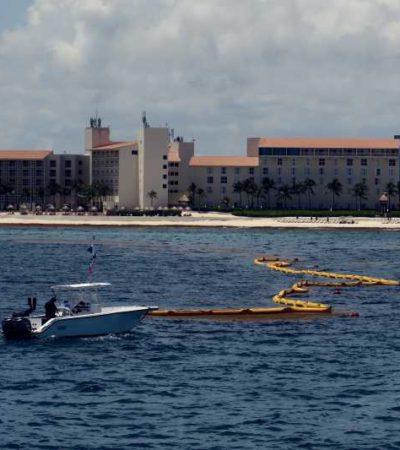 COLOCAN BARRERA ANTISARGAZO: Realizan las primeras pruebas y se espera que este mismo mes ya exista un kilómetro de protección contra el recale masivo de algas en Cancún