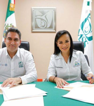 Laura Fernández firma convenio con IMSS para que trabajadores del ayuntamiento de Puerto Morelos puedan tener acceso al servicio