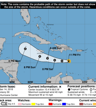 'Isaac' es de nuevo una tormenta tropical y avanza sobre el Caribe