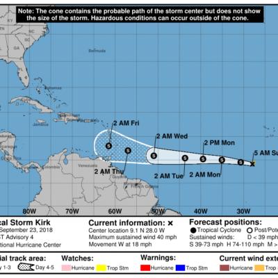 MONITOREO EN EL ATLÁNTICO: Avanza tormenta 'Kirk' hacia el Caribe pero esperan un paulatino debilitamiento a partir de 72 horas