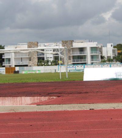 Instituto del Deporte en Solidaridad buscará el reencarpetamiento de la pista de tartán del deportivo Mario Villanueva; aunque será la siguiente administración que aplique los recursos