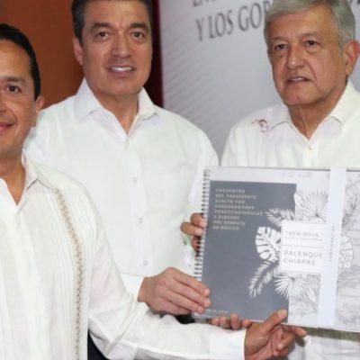 En reunión con AMLO y otros gobernadores, destaca Carlos Joaquín que la construcción del Tren Maya abrirá nuevas oportunidades de desarrollo para la gente de Quintana Roo