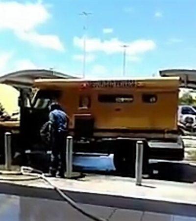 Se incendia camión de Cometra frente a tienda Soriana… y salvan el dinero