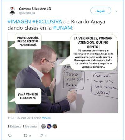 """Se mofan tuiteros de la posibilidad de que Anaya dé clases en la UNAM; ¿Qué sigue, Peña Nieto dando clases de literatura en la Ibero?""""."""