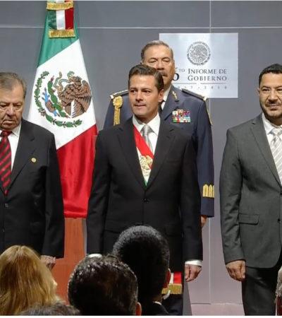 Defiende Peña sus reformas ante los líderes del Congreso de la Unión, los morenistas Muñoz Ledo y Batres
