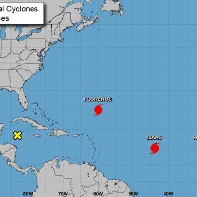 Transitan tres huracanes en aguas del Atlántico; recibiría Yucatán lluvias y vientos muy fuertes