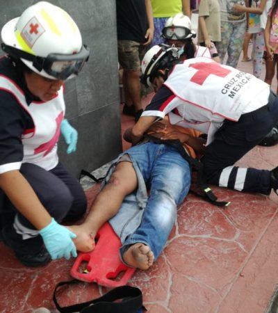 Accidentalmente grúa embiste a motociclistas en Cancún