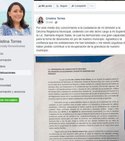 Oficializa Cristina Torres su negativa a asumir la regiduría en Solidaridad