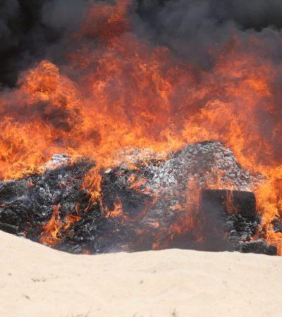 Incinera PGR en Cancún droga y piratería decomisada