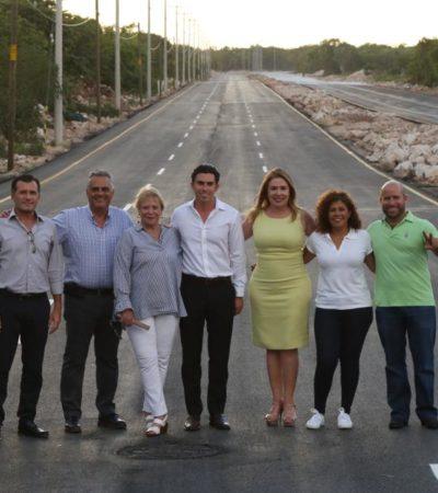 Inaugura Remberto pavimentación de las avenidas 135 y Durango y entrega 20 equipos de protección respiratoria al cuerpo de bomberos de Cancún
