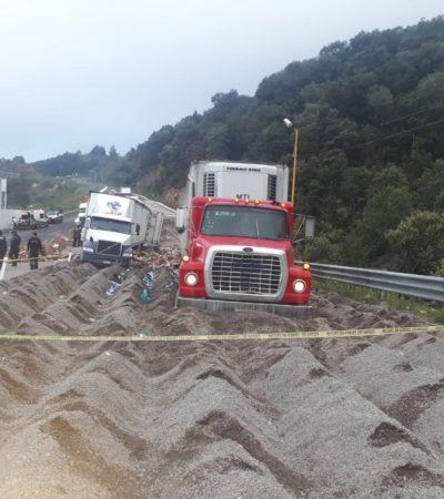 Mata tráiler sin frenos a cuatro personas que rapiñaban otro vehículo pesado en autopista Puebla-Veracruz