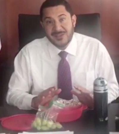 VIDEO   Lleva Martí Batres sus uvas y quesadillas al Senado; reta a legisladores al #TuppersChallenge