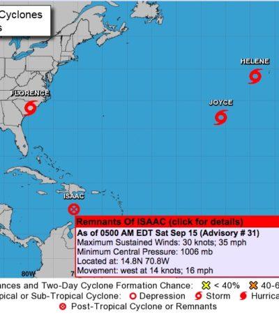 ENTRA 'ISAAC' EN ETAPA DE DISIPACIÓN: Monitorean los remanentes de la tormenta tropical, pero ya no representa riesgo para Quintana Roo