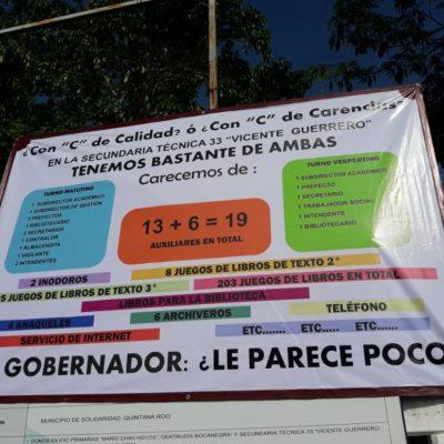 PROTESTAN MAESTRO CON MANTA: Escuela de Playa del Carmen acaba de completar planilla, pero perderá docentes a fin de mes