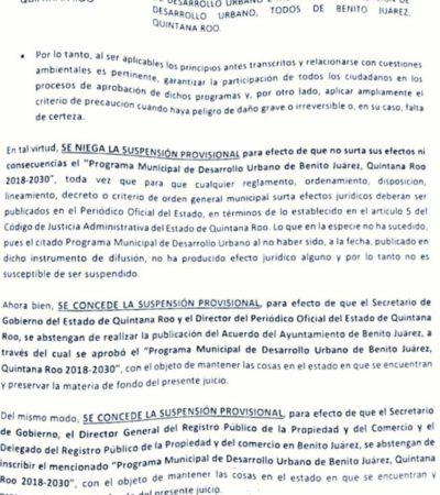 Tribunal  de Justicia Administrativa prohíbe la publicación del PDU de Cancún en el Periódico Oficial del Estado