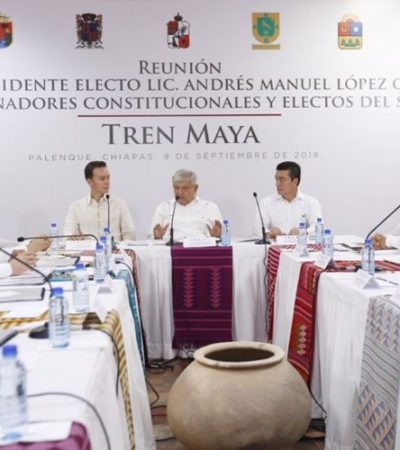 SE HARÁ TREN MAYA CON DINERO DE LA PROMOCIÓN: AMLO y Gobernadores del Sureste presentan el ambicioso proyecto de 8 mil mdp