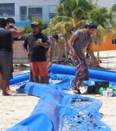 Grupo Dakatso continúa con la colocación de barrera antisargazo en Playa del Carmen; afirman empresas que la siguiente semana se instalará la estructura de muelle a muelle