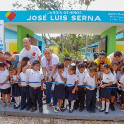 Inaugura Cristina Torres jardín de niños en la comunidad rural de Nuevo Noh Bec