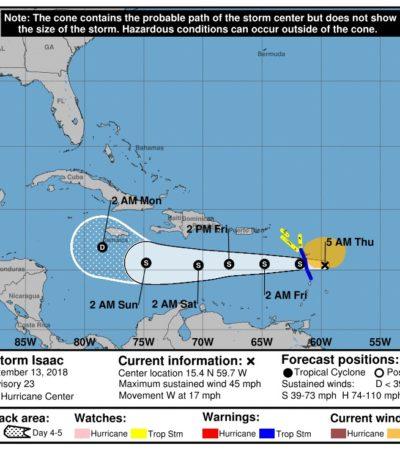 Entrará al Caribe la tormenta tropical 'Isaac'; aún no representa riesgo para QR, dice Protección Civil