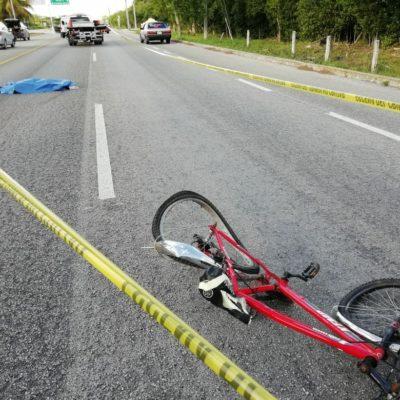 Muere ciclista atropellado en la carretera Cancún-Playa