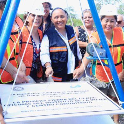 Coloca Cristina Torres primera piedra para construcción del GEAVIG, Instituto de las Mujeres y CDC en Villas del Sol