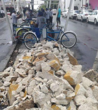 Ayuntamiento desatiende obra pública para tricicleros en Playa del Carmen
