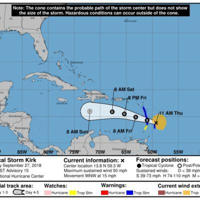 Monitorean tormenta tropical 'Kirk' que esperan tienda a disiparse en el mar Caribe