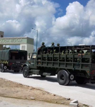 Arriban mil elementos de la Policía Militar a Cancún para reforzar la seguridad