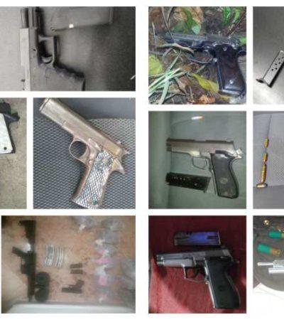 De enero a septiembre asegura la policía de Cancún 50 armas de fuego y detiene a 86 personas relacionadas