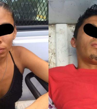 Detienen a una pareja por robo a un Oxxo en la Región 100 de Cancún
