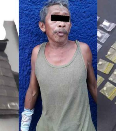 Hallan a vendedor de elotes con 'crack' y chaleco antibalas en Cancún