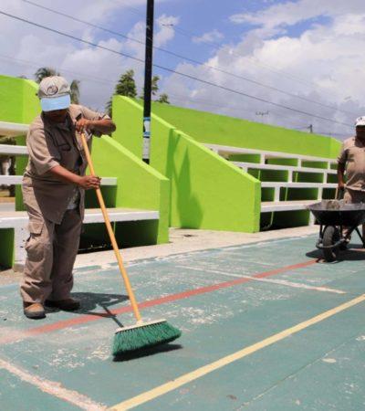 Laura Fernández inicia programa de remozamiento de parques con el fin de dar mejor imagen a los espacios públicos de Puerto Morelos