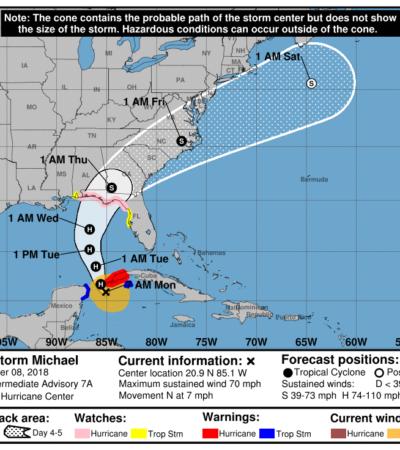 SIGUE AVANCE DE 'MICHAEL' POR EL CANAL DE YUCATÁN: La tormenta tropical está cerca de convertirse en huracán