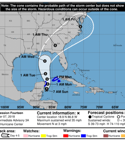 DEPRESIÓN TROPICAL PODRÍA SER TORMENTA HOY MISMO: Pronóstico de fuertes lluvias en Quintana Roo, pero trayectoria será paralela a la costa