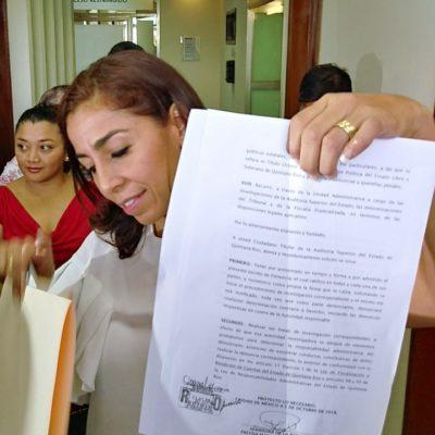 VA SENADORA CONTRA CABEZA DEL CONGRESO EN QR: Marybel Villegas presenta denuncia ante la Auditoría Superior del Estado contra Eduardo Martínez Arcila
