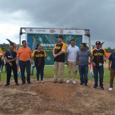 Inauguran la liga de béisbol en el municipio de Felipe Carrillo Puerto