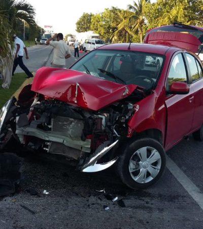 Accidente en carretera deja a una mujer lesionada entre Playa del Carmen y Puerto Morelos