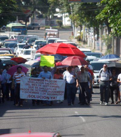 Nuevamente a las calles, maestros en Tabasco para exigir pago de gratificaciones salariales