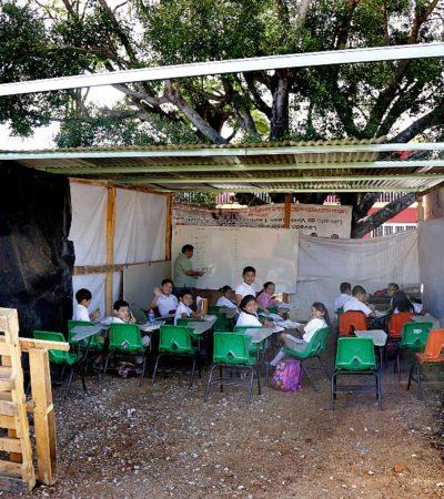 Dejará Velasco Coello unas 200 escuelas dañadas por sismos en Chiapas; padres exigen atención
