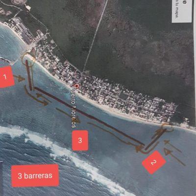Colocan segunda barrera antisargazo en Puerto Morelos
