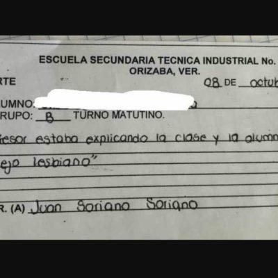 """OCURRIÓ EN ORIZABA VERACRUZ: Niña le dice a su profesor """"cállese, viejo lesbiano""""… y la reportan"""