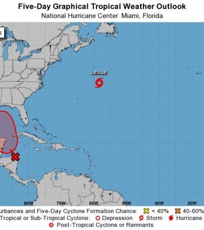 Aumenta a 70% la probabilidad de que sistema de baja presión evolucione la próxima semana a depresión tropical frente a costas de Quintana Roo