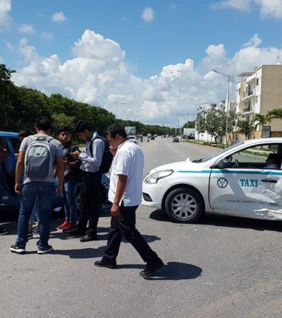 Choque en Playa del Carmen deja tres lesionados