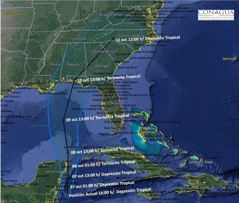 """Se forma la Depresión Tropical """"Catorce"""" frente a costas de QR; se mantiene a una distancia de 280 km al sur de Cozumel"""