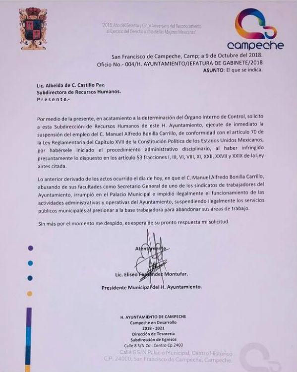Pide alcalde de Campeche suspensión laboral de líder sindical; si hay que indemnizarlo, 'yo lo pago', dice