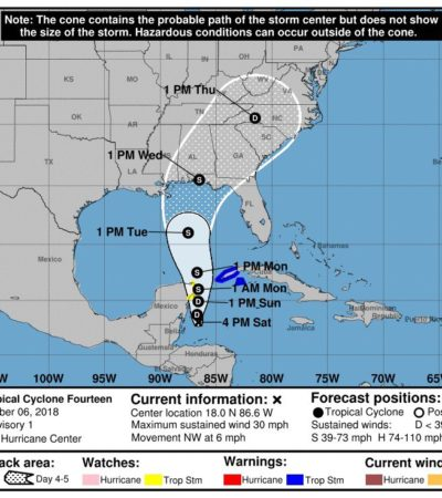 VIGILAN DEPRESIÓN TROPICAL: Emiten alerta 'azul' y 'verde' para municipios de Quintana Roo
