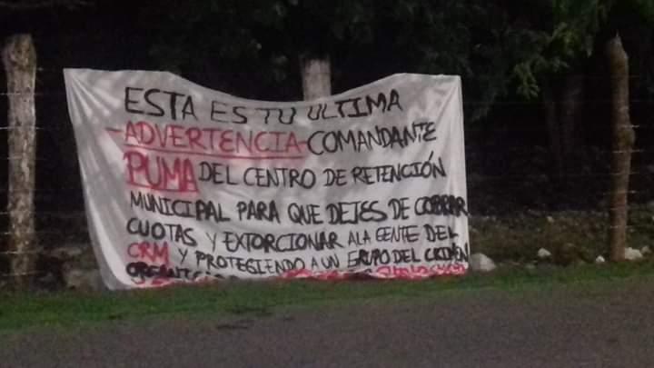 Aparece presunta narcomanta en la colonia Ejidal de Playa del Carmen con supuestas amenazas contra comandante de la cárcel municipal