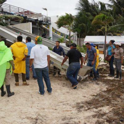 Mantienen operativo permanente en Puerto Morelos para atender afectaciones por lluvias