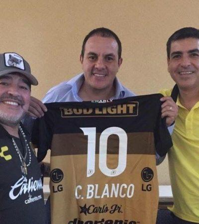 ES UN HONOR ESTAR CON… MARADONA: Se reúne Blanco con el técnico de Dorados previo al partido de hoy