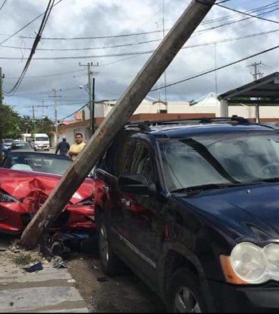 Conductor provoca aparatoso accidente y se da a la fuga en Cozumel